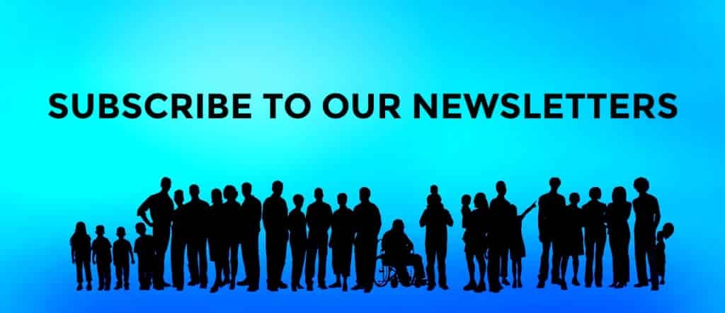 Silouttes of all sorts of people of all ages and abilities with words Subscribe to Newsletter