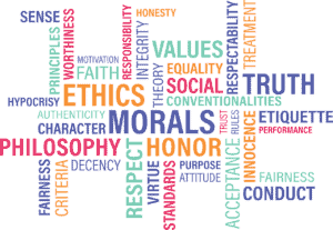 words like morals, honor, truth