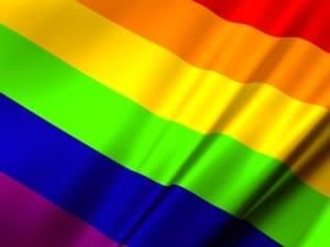 Close up of rainbow flag