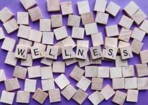 scrabble blocks spelling wellness