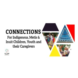 Title CONNECTION for Indigenous, Metis & Inuit Children, Youth and their Caregivers and pictures of Indigenous dancers and teepee poles