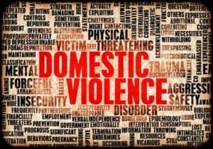 A collection of words related to abuse with words Domestic Violence in red