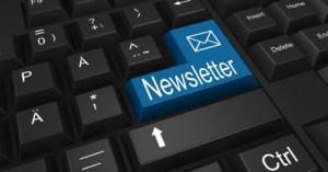 key board with blue key marked newsletter