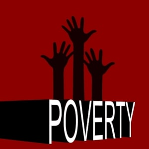Silouttes of arms reaching up and the word poverty