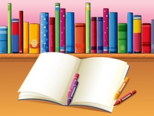 Animated blank coloring book, crayons and books on a childs desk