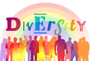 Colorful silouettes of people with word diversity