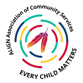 ALIGN Indigenous Version of Logo with Every Child Matters added to the circle surrounding eagle feathers E
