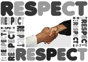 hand shake and word respect