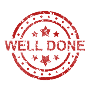 Red circle with stars inside and words Well Done