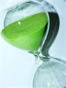 hour glass with green sand